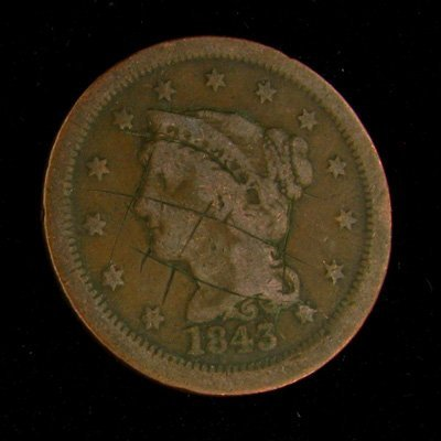 1843 Liberty Head Type One Cent Coin - Investment