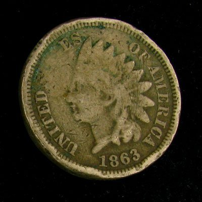 1863 Indian Head Type One Cent Coin - Investment