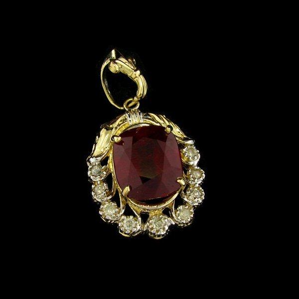 APP: $25.7k 14 kt. Gold, 10.08CT Ruby & Diamond Pendant