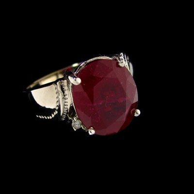 APP: $18.7k 14kt. White Gold 6.77CT Ruby & Diamond Ring