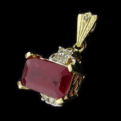 APP: $22.9k 14 kt. Gold, 10.08CT Ruby & Diamond Pendant