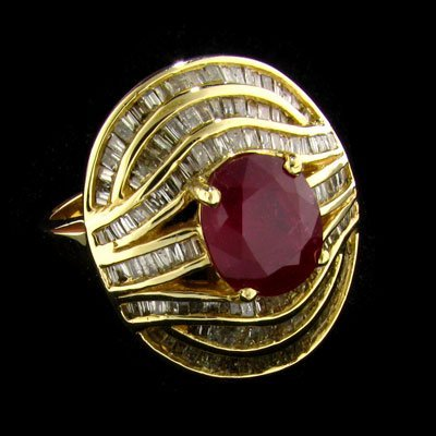 APP: $22.2k 14 kt. Gold, 3.60CT Ruby & Diamond Ring