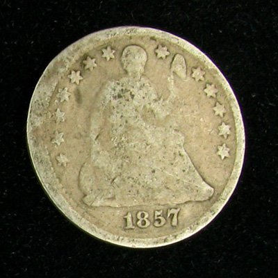 1857 Seated Liberty Half Dime Coin - Investment