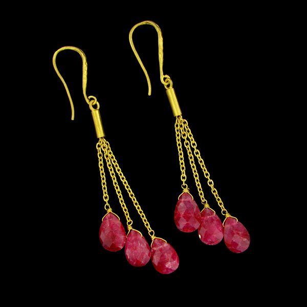 APP:$14k 14kt Gold Overlay 22CT Ruby & Silver Earrings