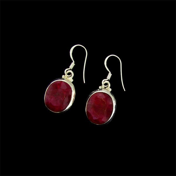 APP: $13.7k 16.66CT Ruby & Sterling Silver Earrings