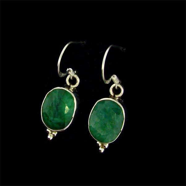 APP: $9.3k 8.30CT Emerald Sterling Silver Earrings