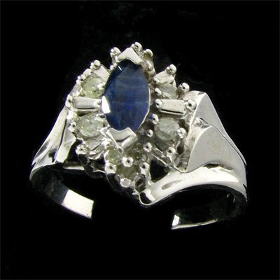 14 kt. White Gold, 0.38CT Sapphire & Diamond Ring