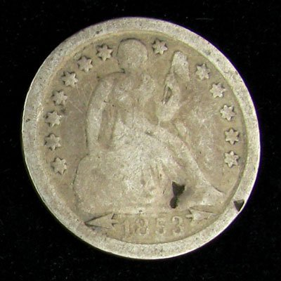 1853 Seated Liberty Dime Coin - Investment