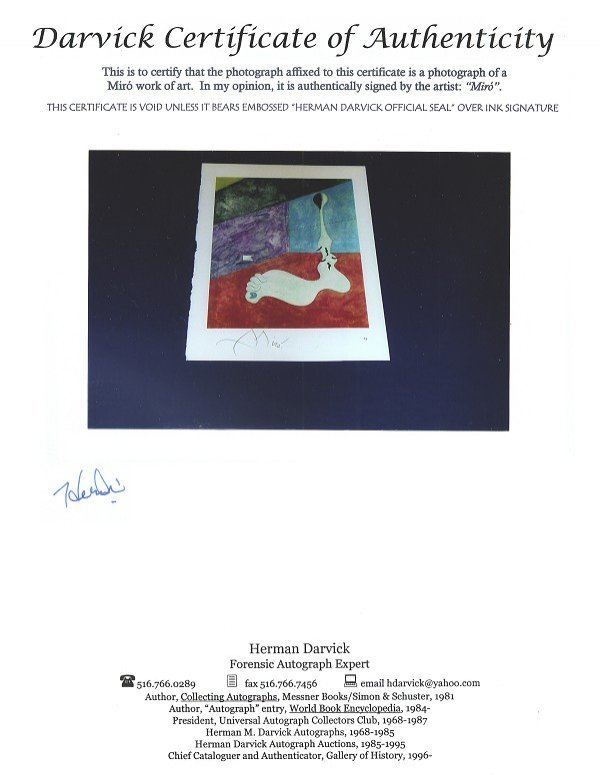 JOAN MIRO Hand Signed Book Photo