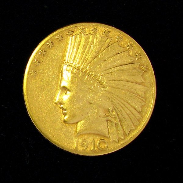 1910-S $10 U.S Indian Head Gold Coin - Investment