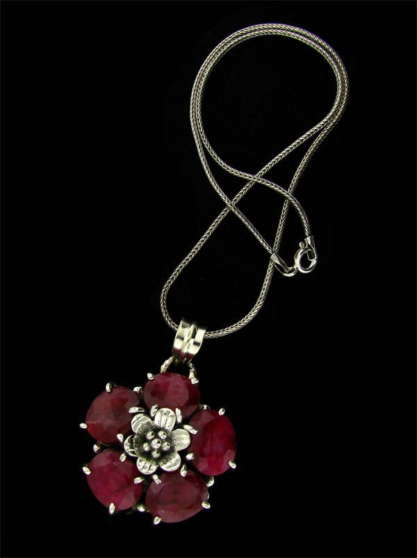 APP: 28.6k 45.37CT Ruby & Sterling Silver Necklace