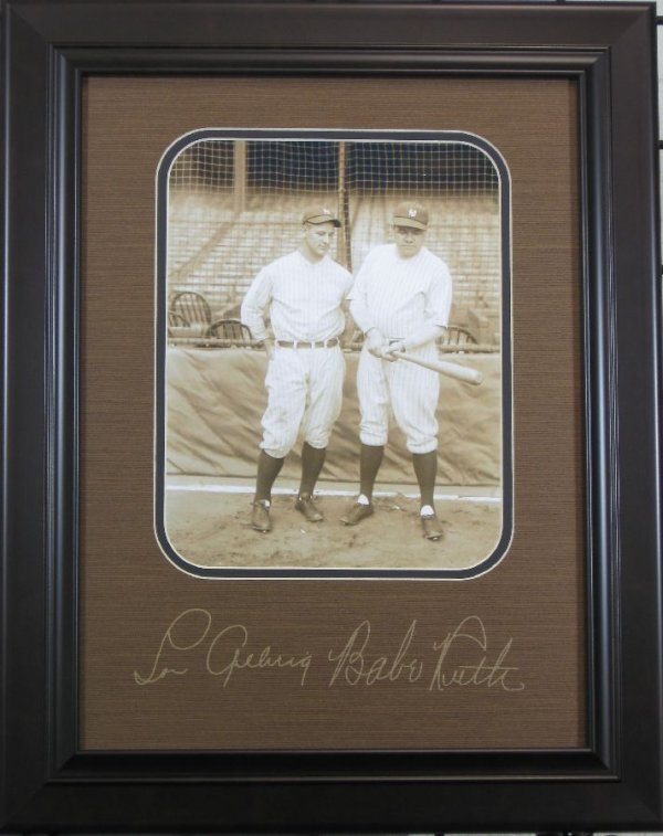 Babe Ruth and Lou Gehrig Plate Signed