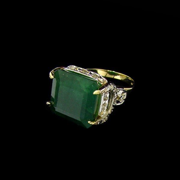 APP: $31.8k 14 kt. Gold, 10.77CT Emerald & Diamond Ring