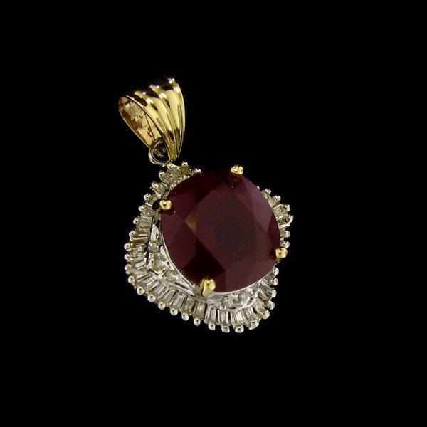 APP: $19.3k 14 kt. Gold, 14.82CT Ruby & Diamond Pendant