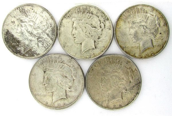 5 Misc. Peace Dollar Coin - Investment