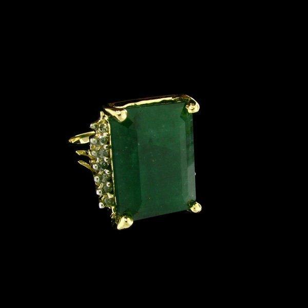 APP: 46.8k 14 kt. Gold, 16.37CT Emerald & Diamond Ring