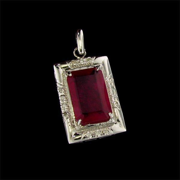 $45.4k 14kt W Gold 22.98CT Ruby & Diamond Pendant