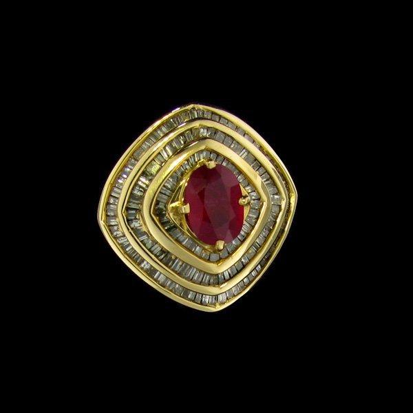 APP: $12.6k 14 kt. Gold, 1.38CT Ruby & Diamond Ring
