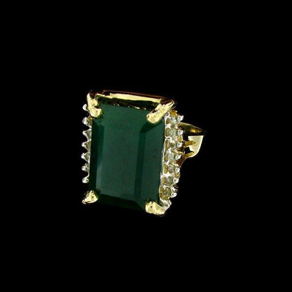APP: $44.3k 14 kt. Gold, 15.40CT Emerald & Diamond Ring