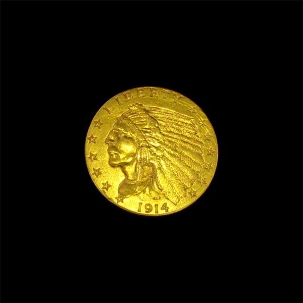 1914-D $2.5 U.S Indian Head Gold Coin - Investment