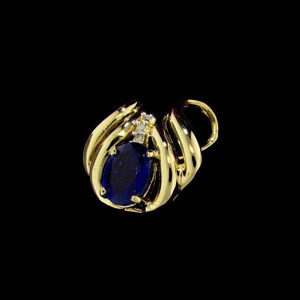 APP: 2.2k 14 kt. Gold, 3.67CT Kyanite & Diamond Pendant