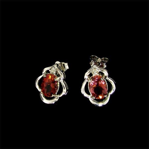 14 kt. White Gold, Tourmaline & Diamond Earrings