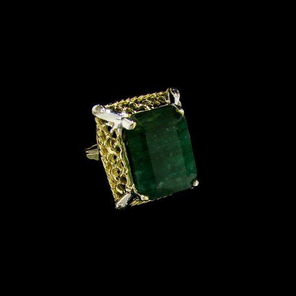 APP: 28.9k 14 kt. Gold, 12.25CT Emerald & Diamond Ring