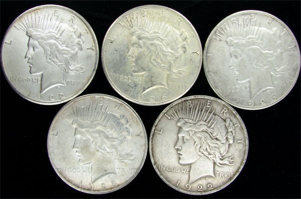 5 Assorted Peace Type Silver Dollar Coin - Investment