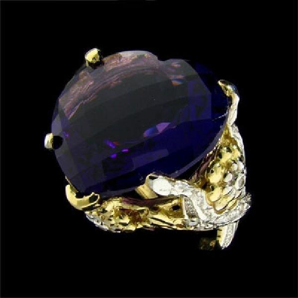 APP: 10k 14kt. Gold 28CT Amethyst & 0.10CT Diamond Ring