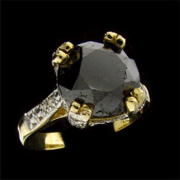APP: 5.6k 14 kt. Gold, 2.58CT Rare Black Diamond Ring