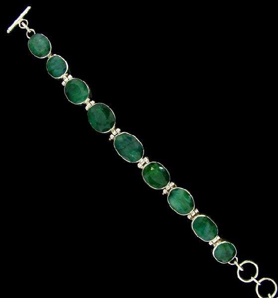 APP: 43.5k 38.70CT Emerald Sterling Silver Bracelet