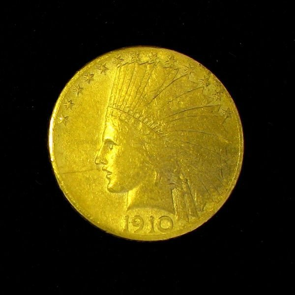 1910-D $10 U.S Indian Head Gold Coin - Investment