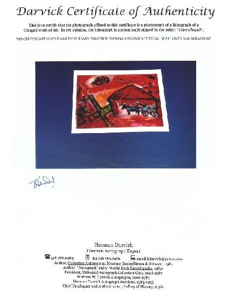 MARC CHAGALL Hand Signed Book Photo