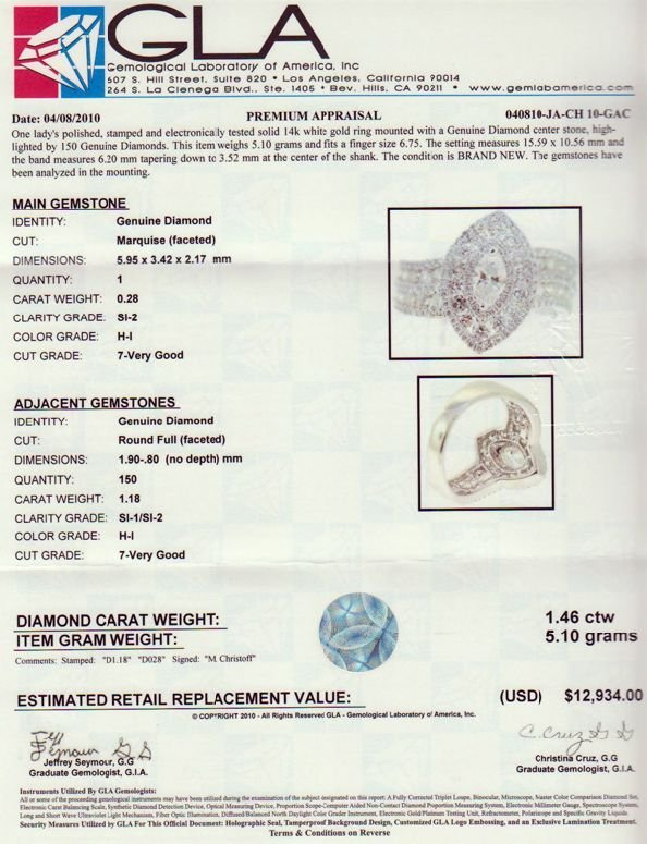 31: APP: 12.9k 14 kt. White Gold, 1.46CT Diamond signed - 2