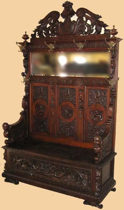 1243: Antique Majestic Walnut Hall Seat-Carved