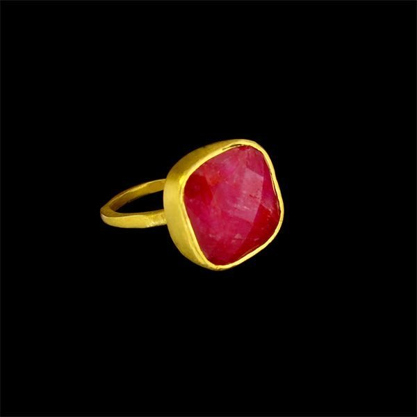 APP:7k 24kt Gold Overlay 8CT Ruby & Sterling S Ring