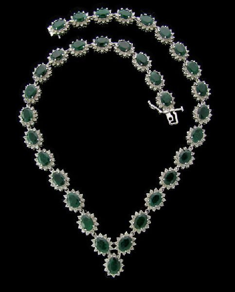 APP:32k 14kt W Gold 42.42CT Emerald & Diamond Necklace