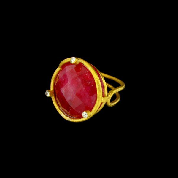 APP: 20k 24 kt. Gold Overlay, 18.84CT Ruby and Sterling