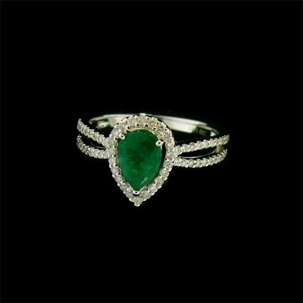 APP: 5.7k 18kt W Gold 0.72CT Emerald & Diamond Ring