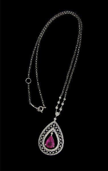 APP:15k 18kt W Gold 3CT Pink Sapphire& Diamond Necklace