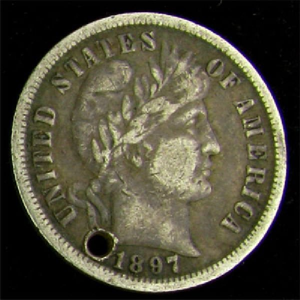 1897 Barber Head Type Dime Coin - Investment