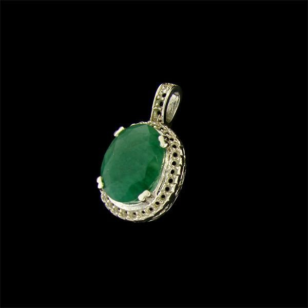 APP: 6.1k 4.81CT Emerald & Sterling Silver Pendant