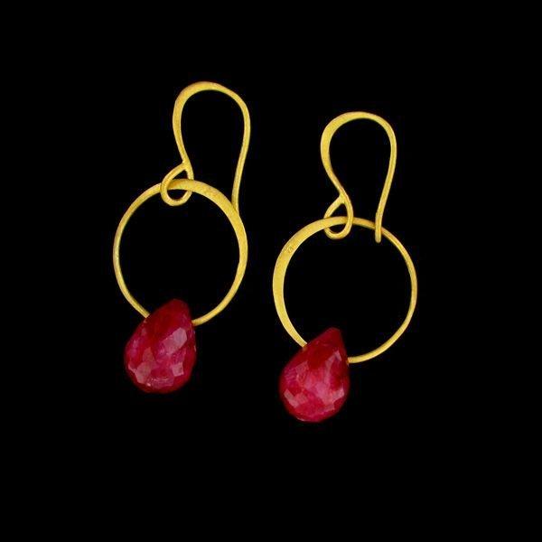 APP:20k 24kt Gold Overlay 21CT Ruby & Sterling Earrings