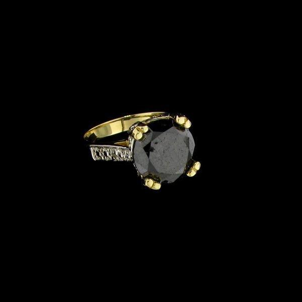 APP: 6.5k 14 kt. Gold, 4.88CT Rare Black Diamond Ring