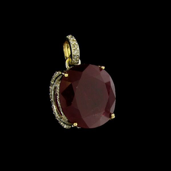 APP: 24.9k 14 kt. Gold, 33.59CT Ruby & Diamond Pendant