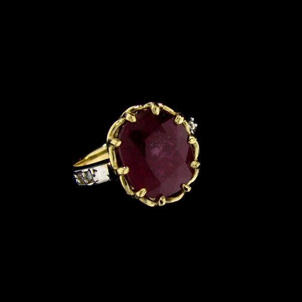 APP: 10.8k 14 kt. Gold, 6.91CT Ruby & Diamond Ring