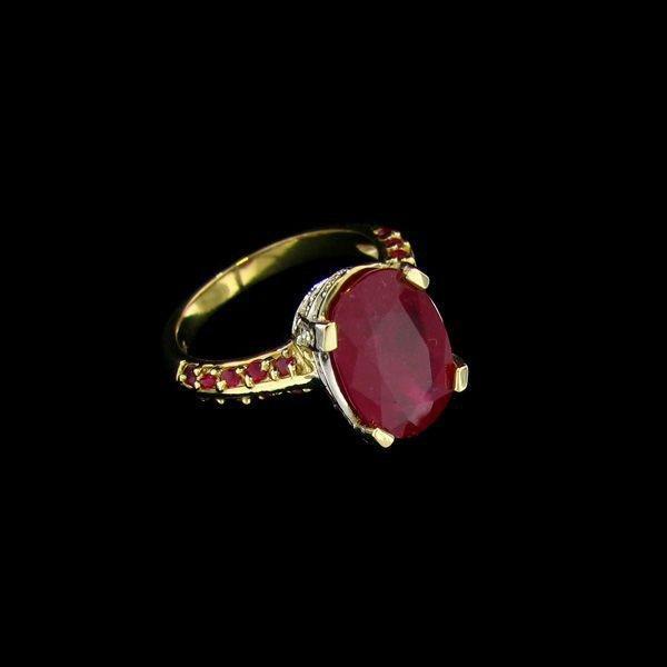 APP: 16.4k 14 kt. Gold, 3.96CT Ruby & Diamond Ring