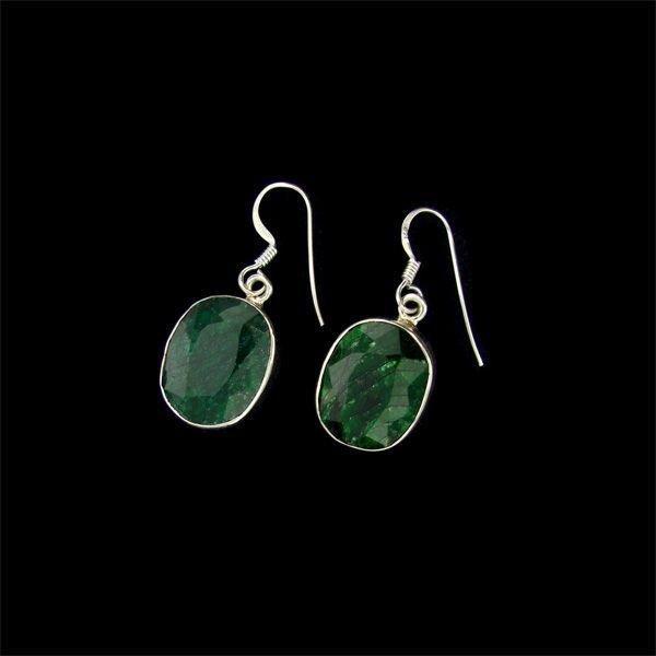 APP: 12.8k 17.69CT Emerald & Sterling Silver Earrings