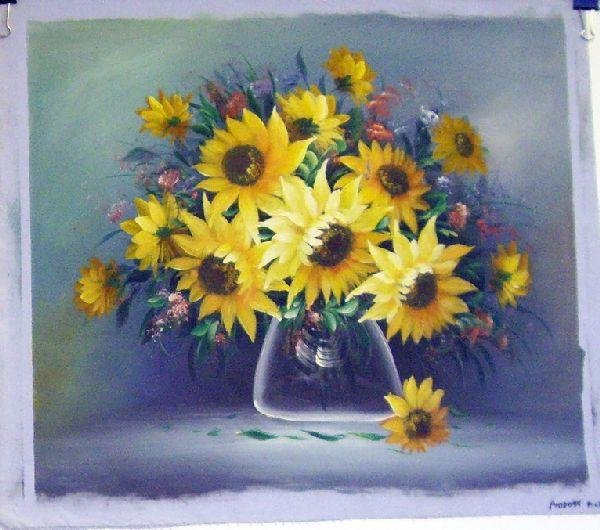 Oil on Canvas Sunflowers in Glass Vase