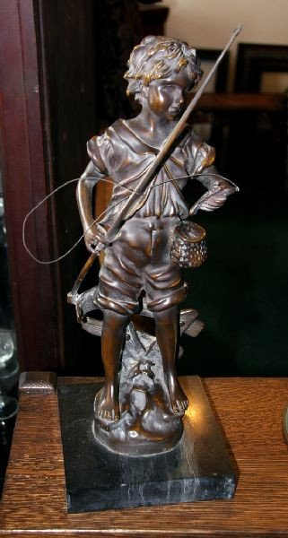 Moreau Bronze-Orginal Signed-Boy Fishing